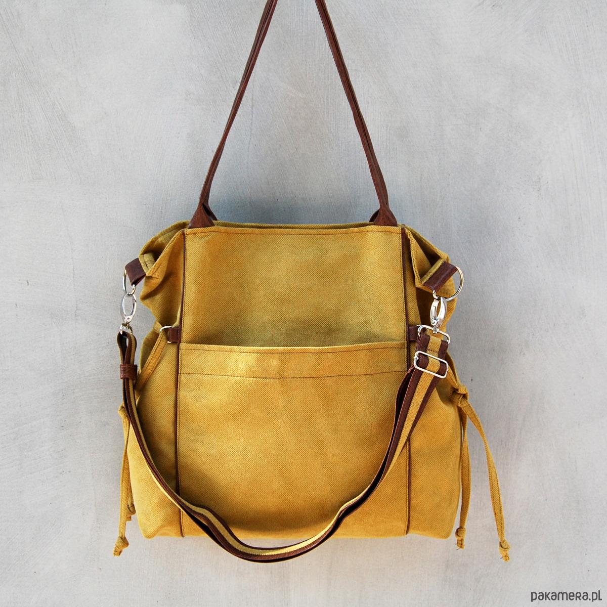 3b20b53e012f0 AMBER - duża torba - shopper - musztarda i brąz - torby na ramię - damskie  - Pakamera.pl