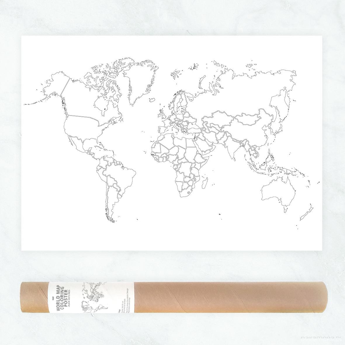 Konturowa Mapa świata Plakat Do Kolorowania Grafiki I Ilustracje