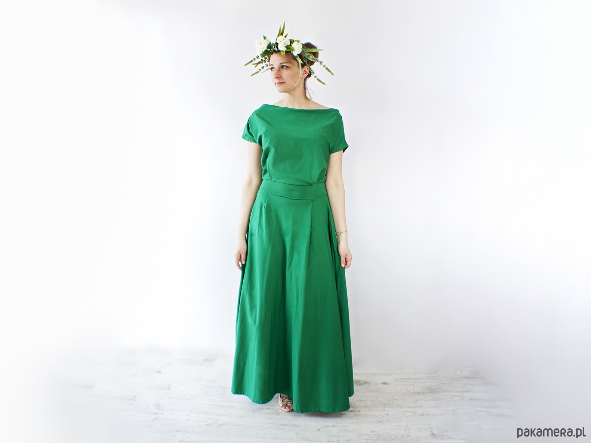 Sukienka UMUT dzianinowa długa szmaragdowa
