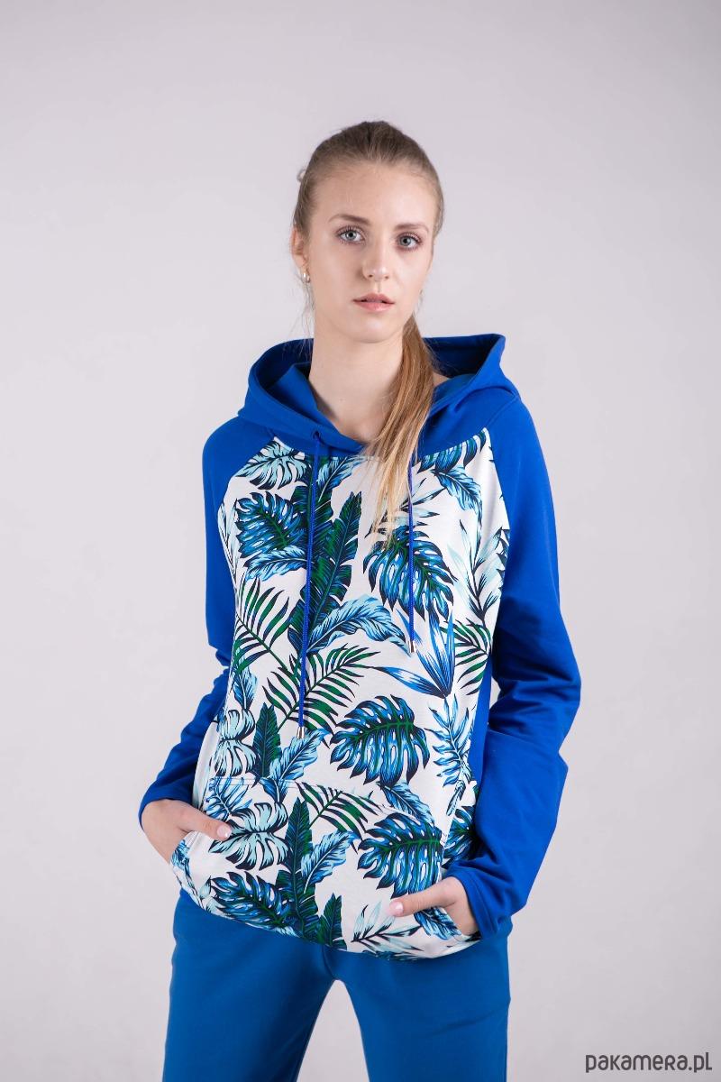 Bluza damska z kapturem Chabrowa +wzór