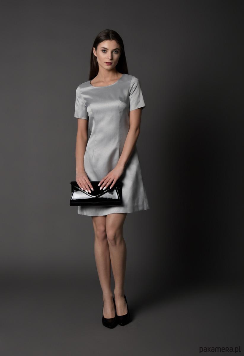 sukienka koktajlowa, srebrna
