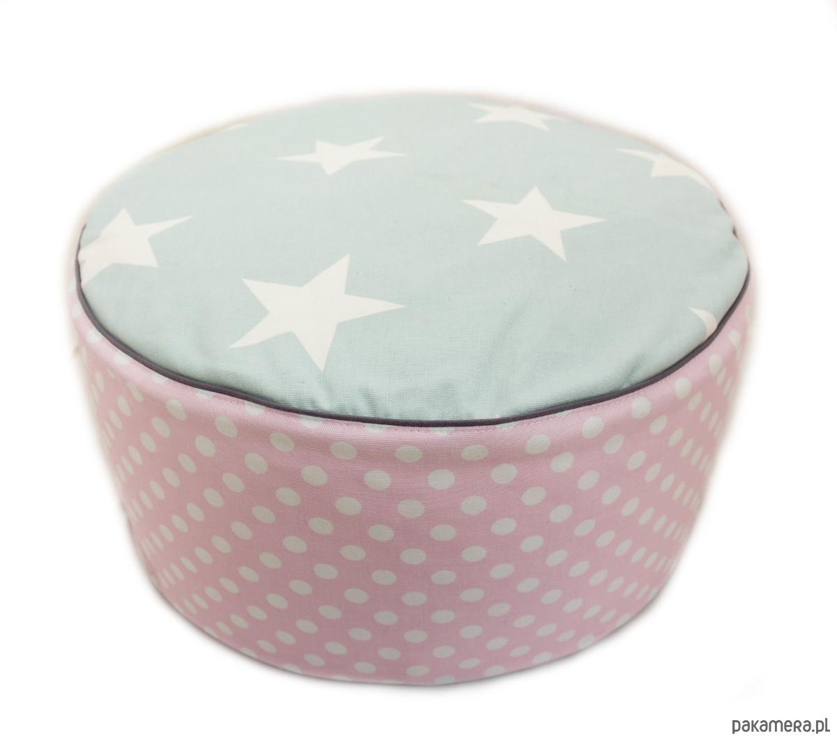 poducha do siedzenia- Pastelove- miętowe gwiazdy - 2037639