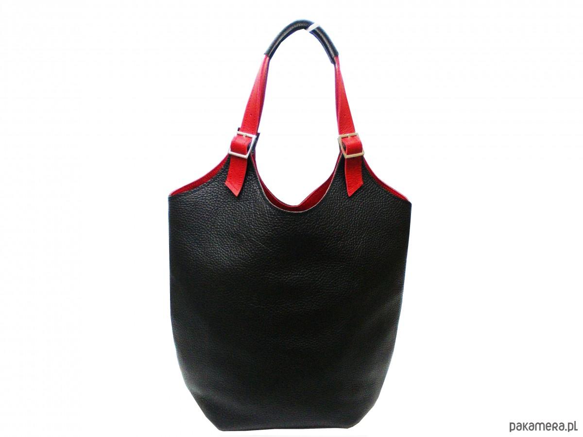 49aea95573dbc Skórzana torebka kolor  czarno- czerwony - torby na ramię - damskie -  Pakamera.pl