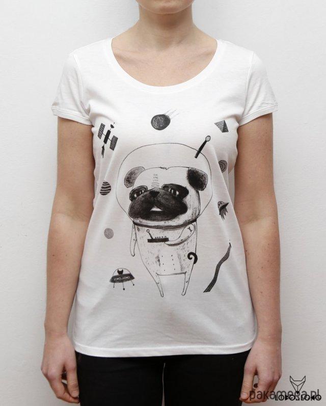 Koszulka damska z Mopsem w kosmosie