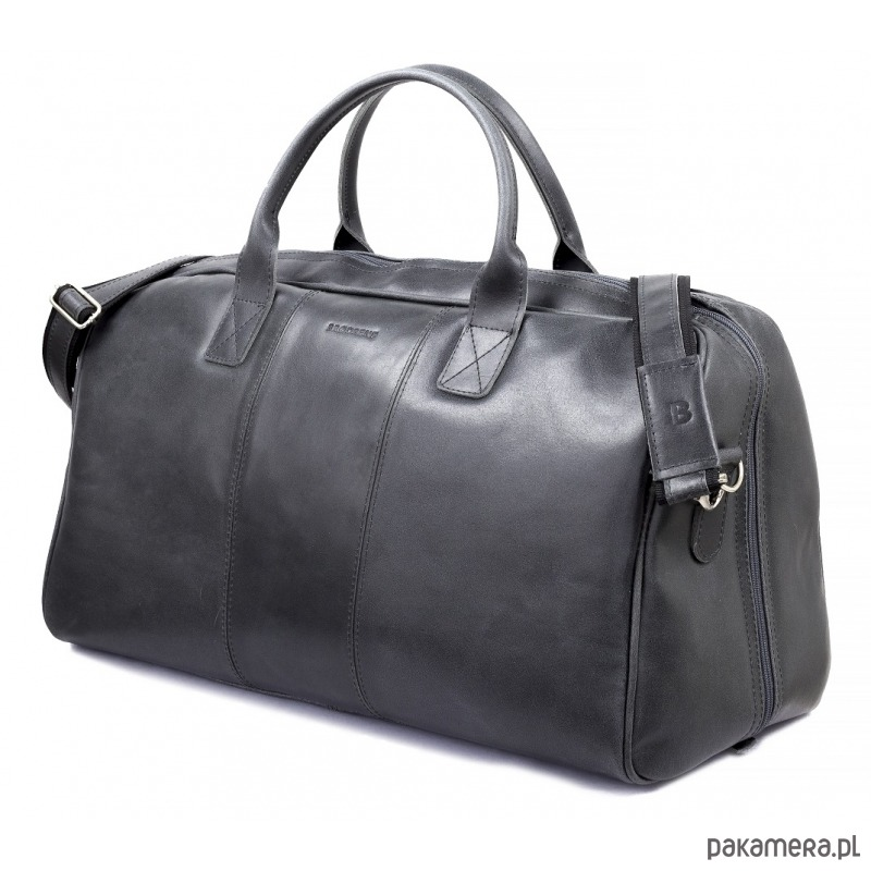 086f916cebdfc akcesoria - torby i nerki - męskie-Skórzana czarna męska torba podróżna