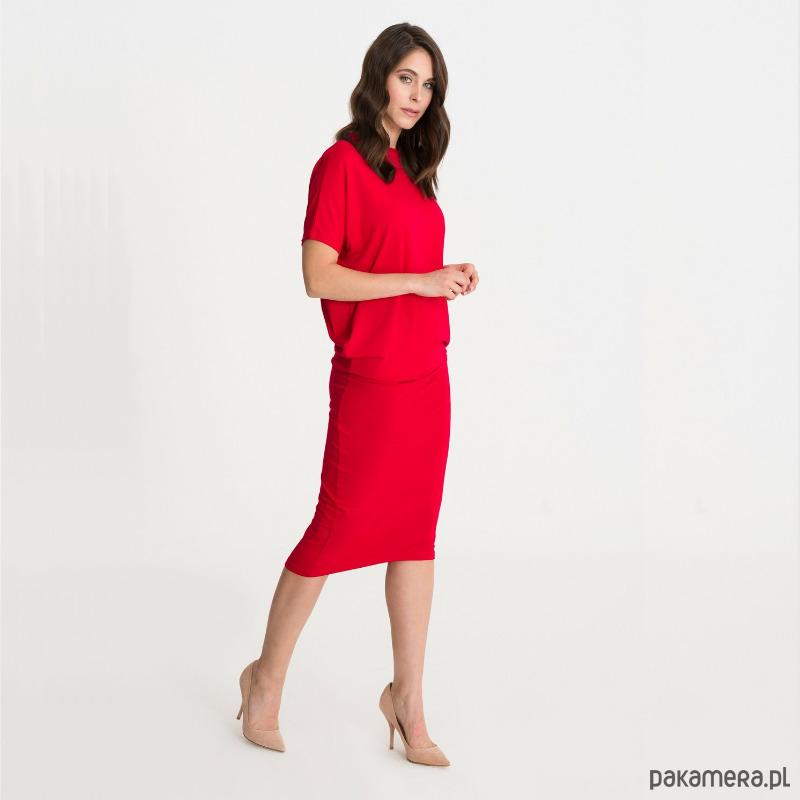 Sukienka PREZESKA czerwona-kótki rękaw