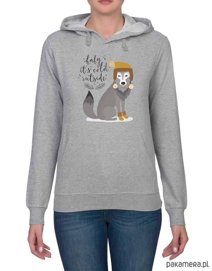 Bluza damska z zimowym wilkiem