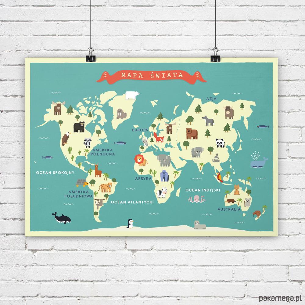 Mapa świata Dla Dzieci Zwierzęta A2 Pakamerapl