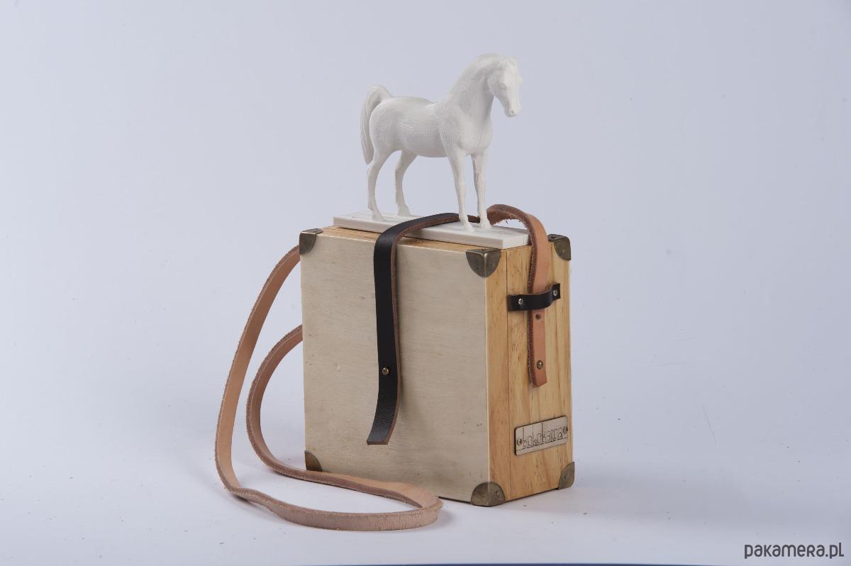 Koń druk 3d + drewno torebka Kolokaina