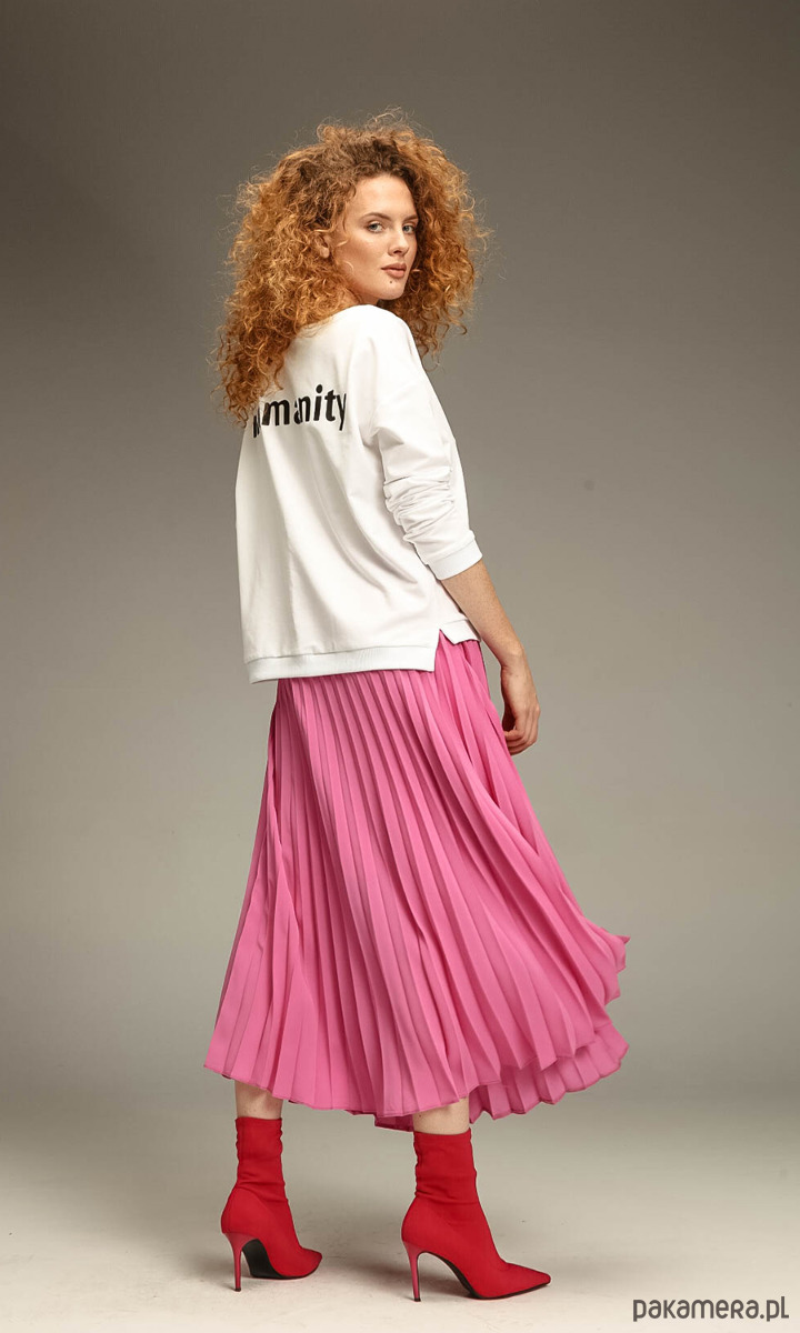 Spódnica midi różowa spódnice midi Pakamera.pl