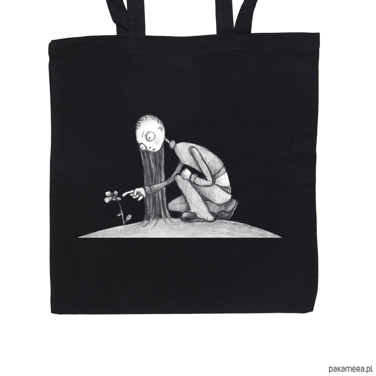 61efa28384772 Kwiat - torba bawełniana czarna - torby na zakupy - unisex - Pakamera.pl