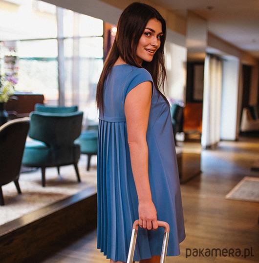 Sukienka trapezowa PURE WATER - niebieska