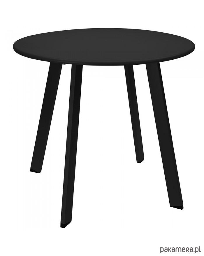 Stolik Kawowy Okrągły Metalowy Czarny Pakamerapl