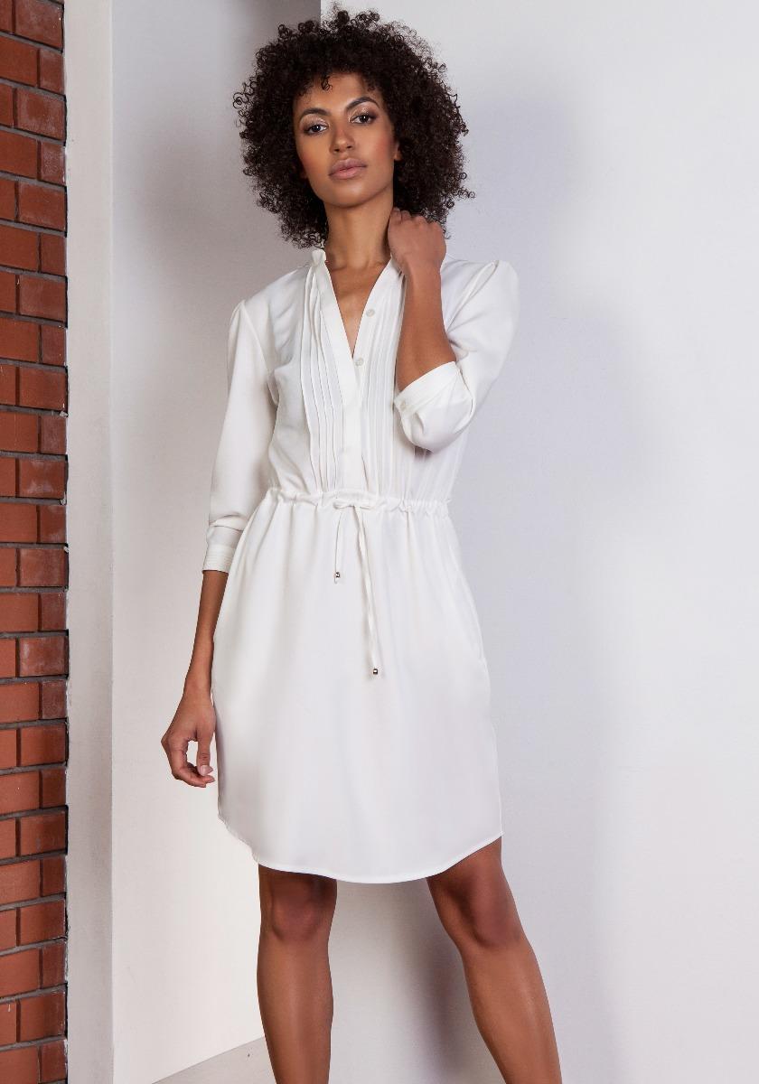 Sukienka ze szczypankami, SUK149 ecru