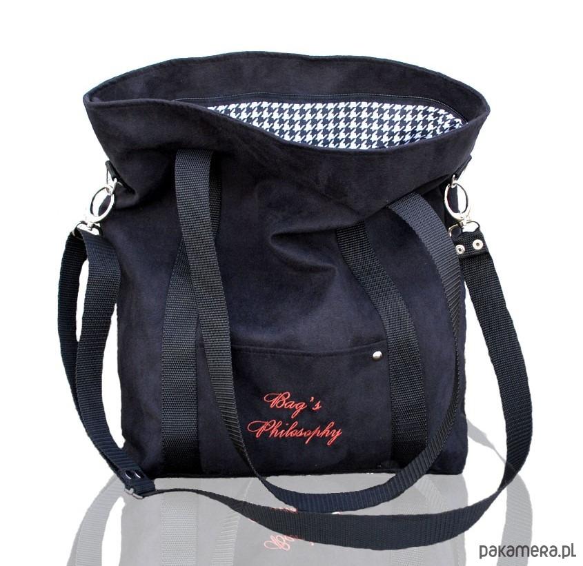 5851cb821c7fa Grafitowa sportowa torba z eko zamszu - torby na ramię - damskie ...
