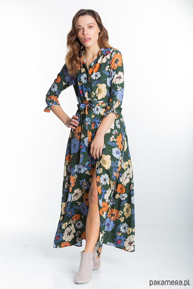 Marbella Zielona Długa Sukienka w Kwiaty