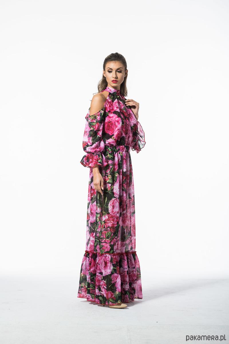 Rose - szyfonowa sukienka maxi z falbanami