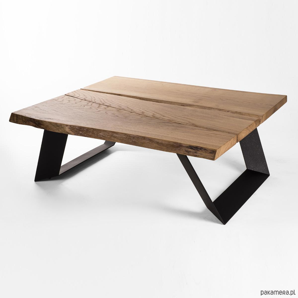 Poważne Stolik kawowy lity dębowy Drewno Design Loft Dąb - meble - stoły i BZ51