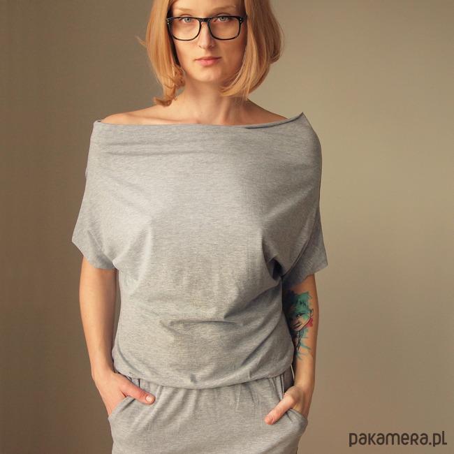Sukienka dresowa Maxi Krótki rękaw Szara