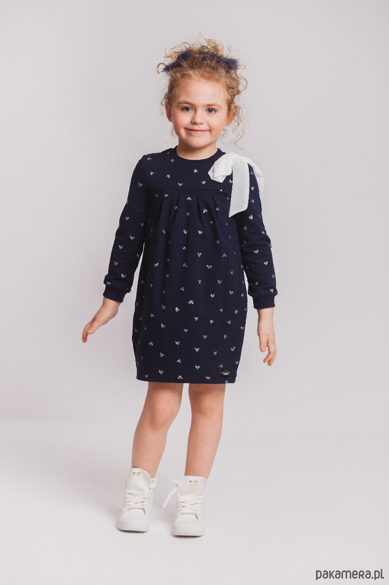 82147d74c7 Granatowa sukienka dresowa z kokardą - dziewczynka - sukienki ...