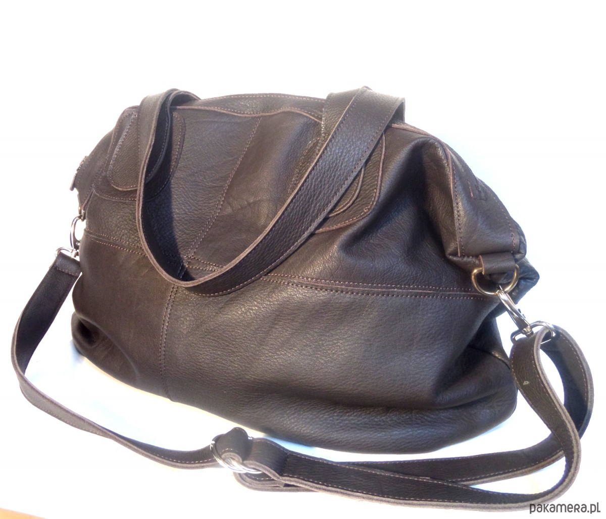 fd9c2c2953168 Duża skórzana czekoladowa torba - torby na ramię - damskie - Pakamera.pl
