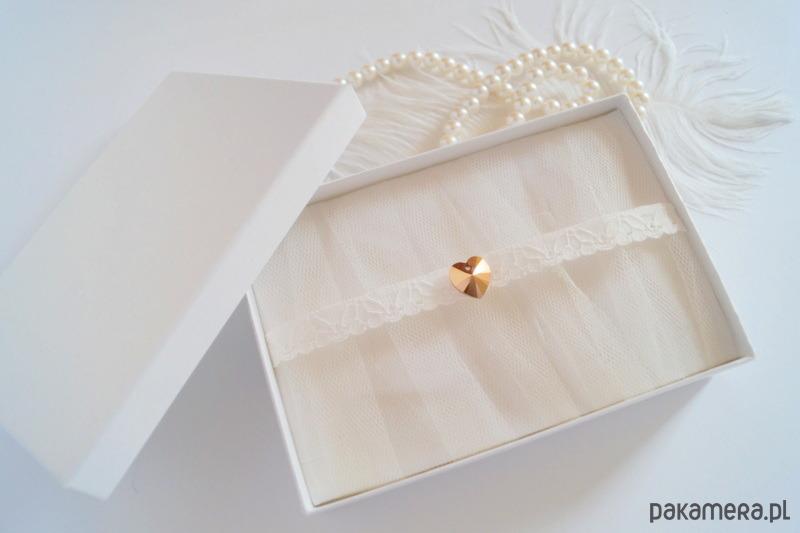 Podwiązka ślubna Złote Serce Kryształ Swarovski ślub Dodatki