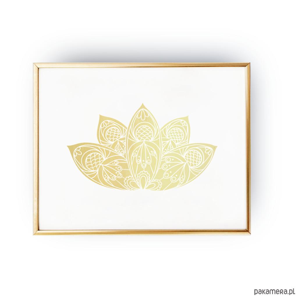 Kwiat Lotosu Złoty Druk Pakamerapl