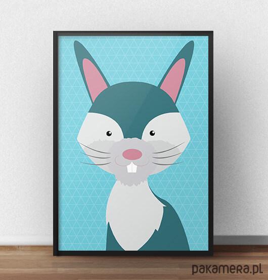 7473e400 Plakat dla dzieci ze scandi królikiem - 30x40 - Pakamera.pl