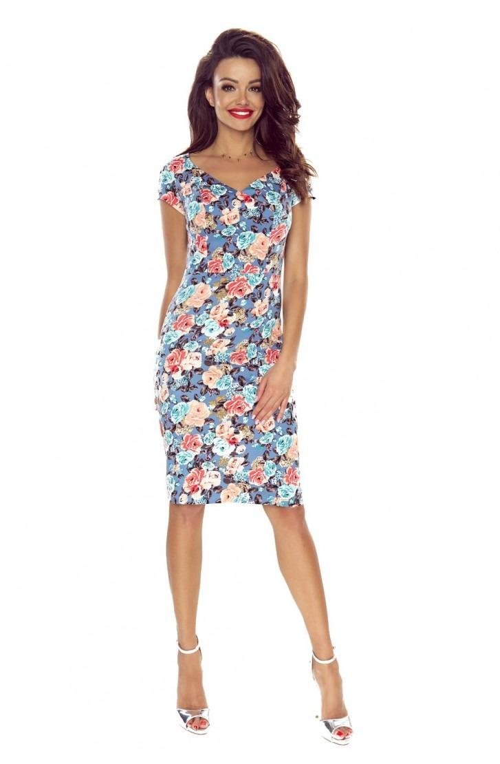 Sukienka dzienna (róże na ciemnym jeans)