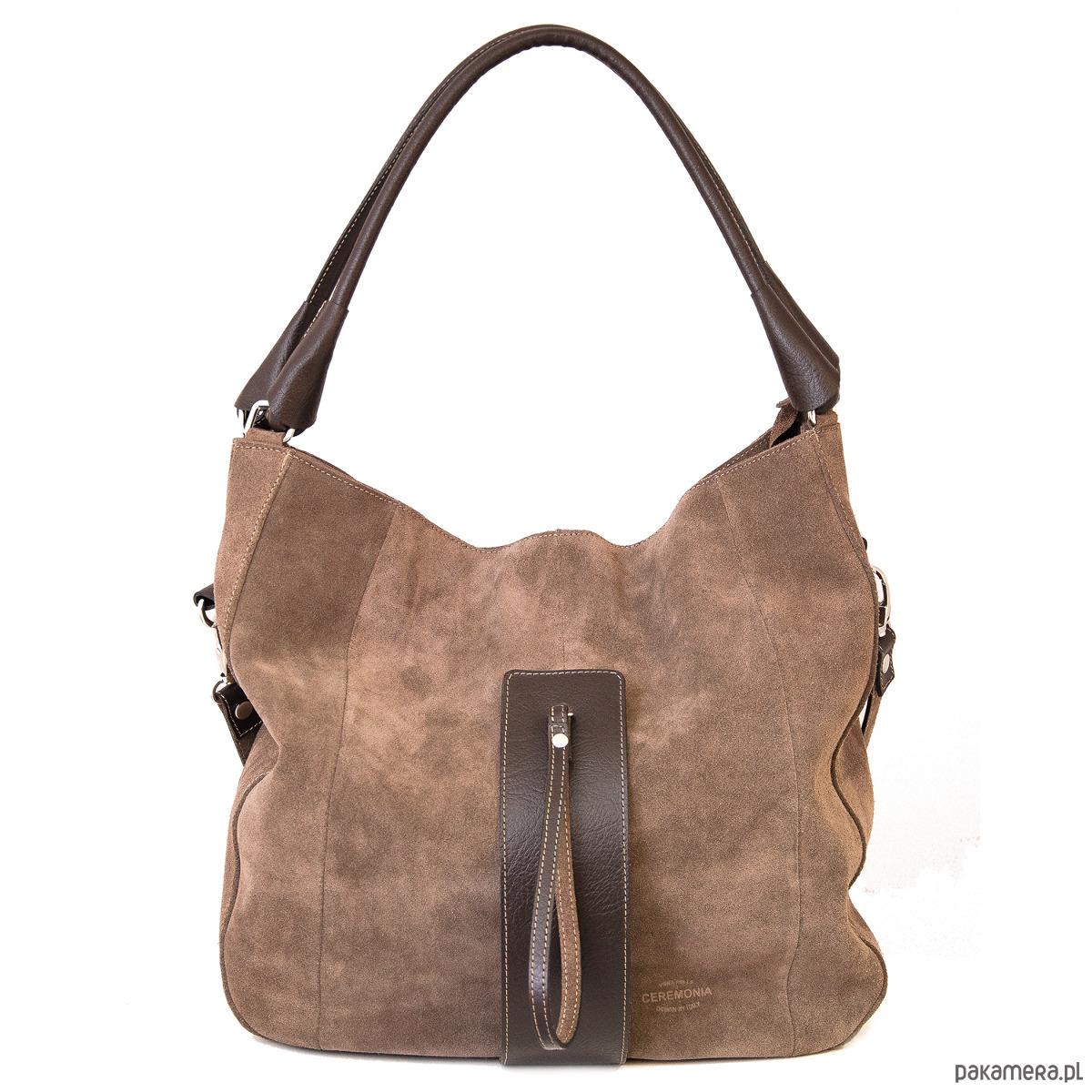 2476a26bf0664 torby na ramię - damskie-Torebka damska skórzana, zamsz naturalny TAUPE