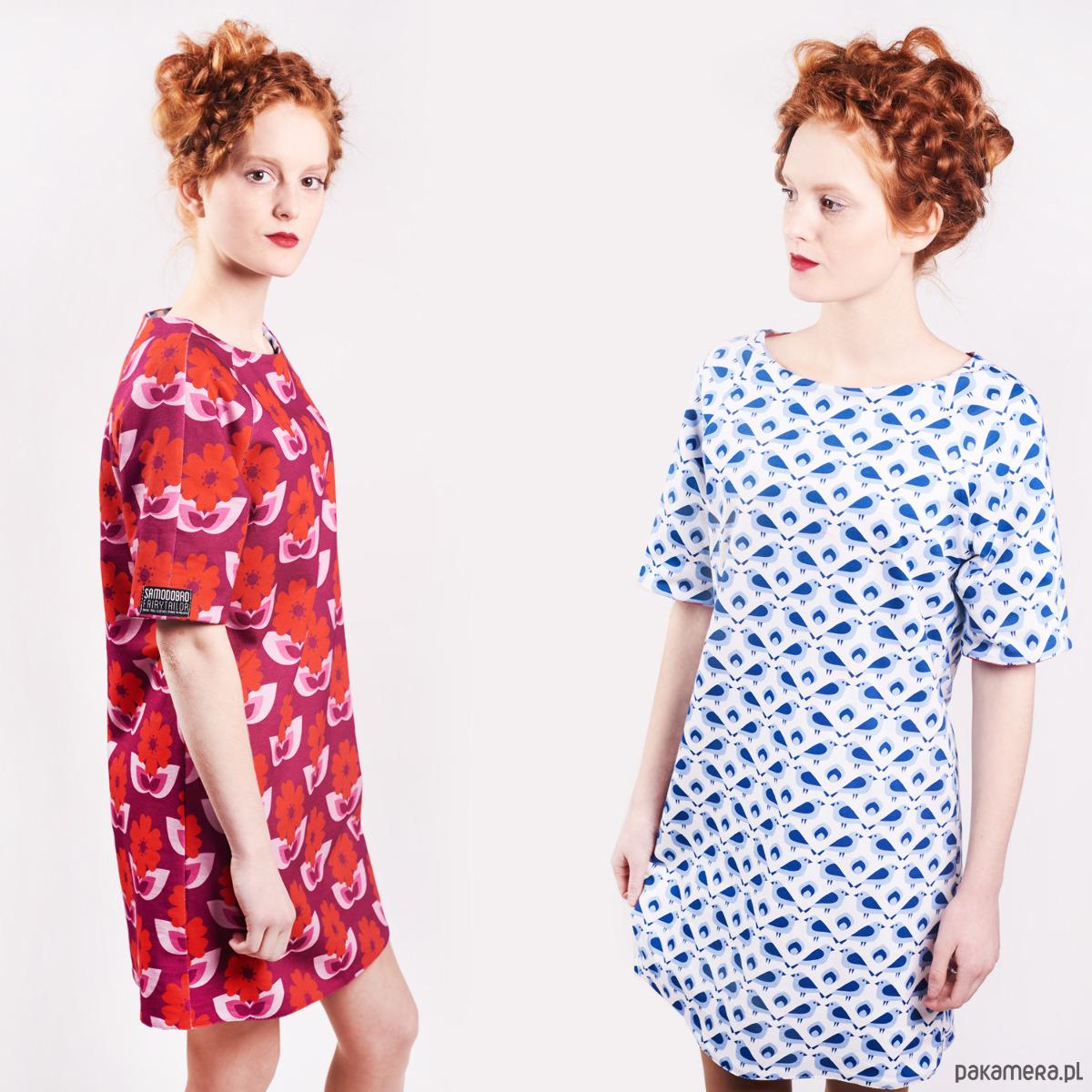 Sukienka 2-stronna Wróbel i Dzika Róża