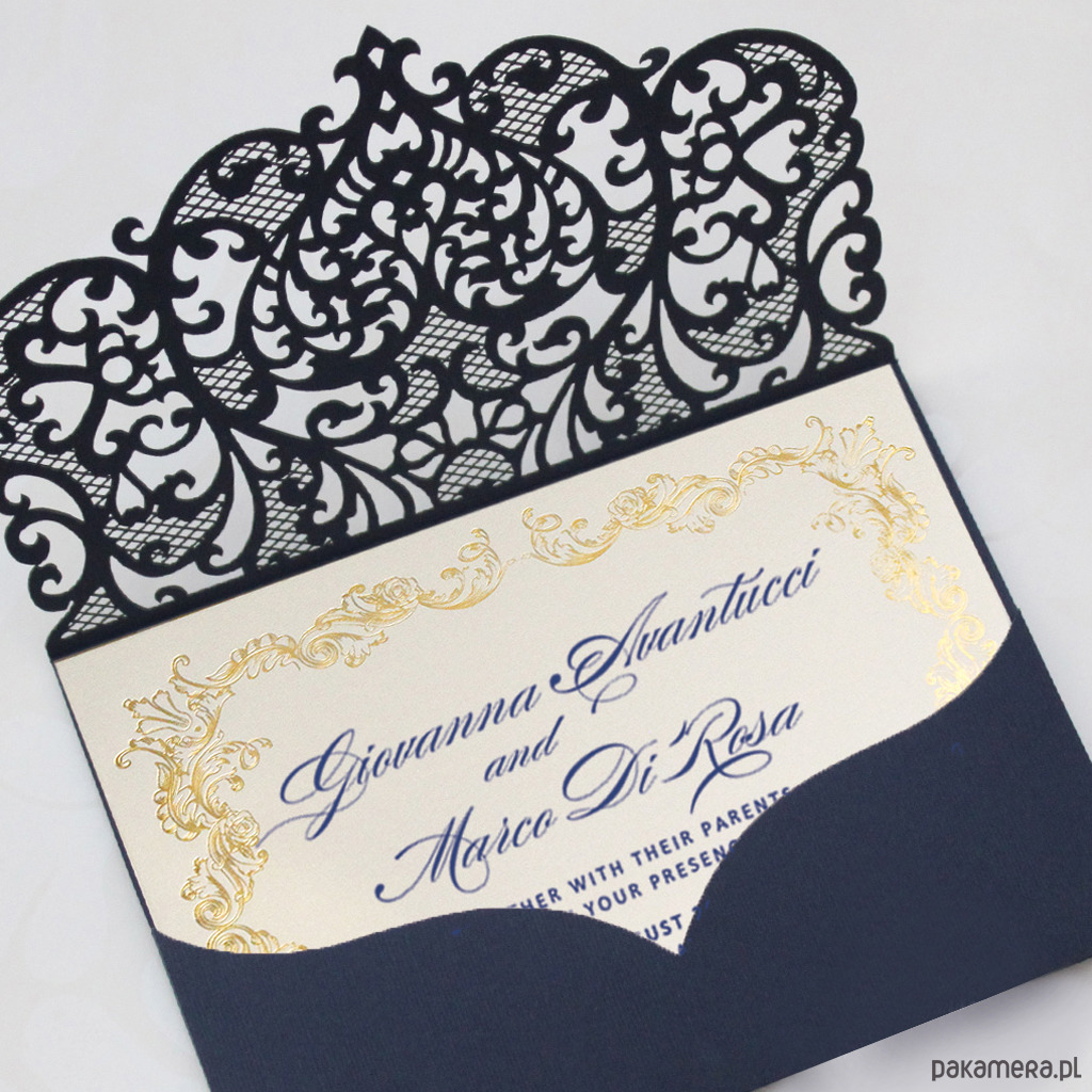 Zaproszenie ślubne Ażurowe Złote Próbka ślub Zaproszenia Kartki