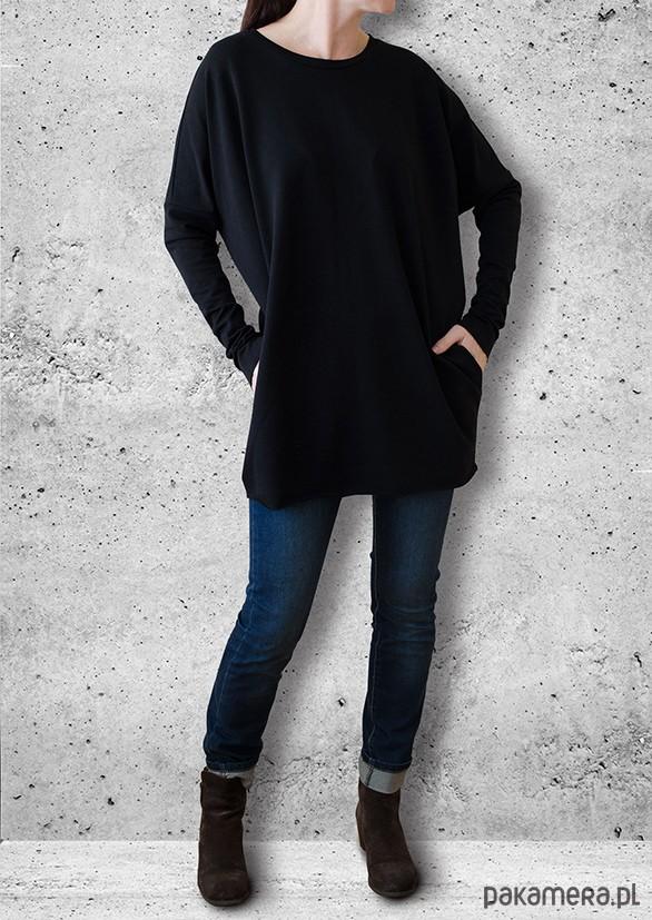 Sukienka MINI - czarna, długi rękaw