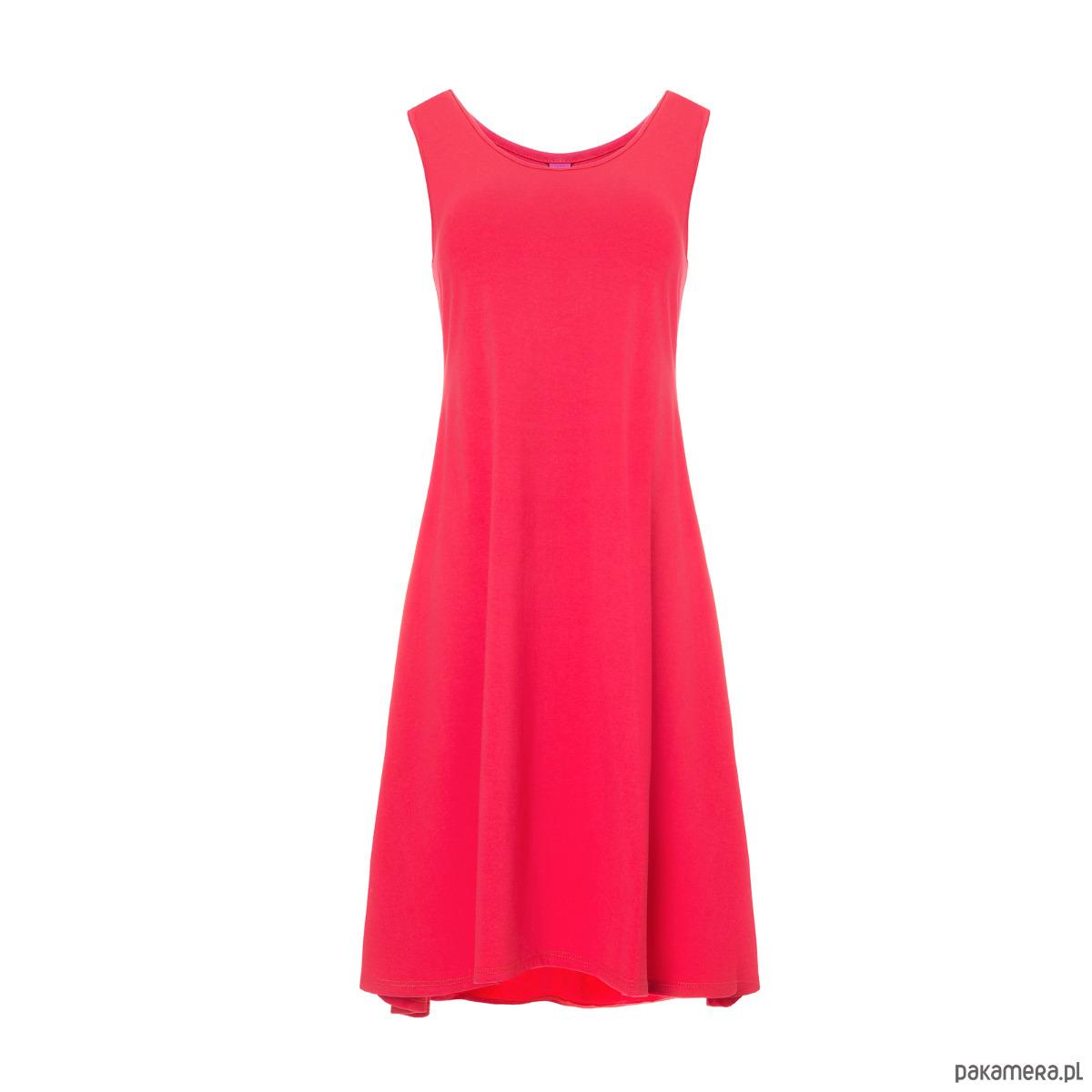 Sukienka klosz na ramiączkach z kieszeniami kora
