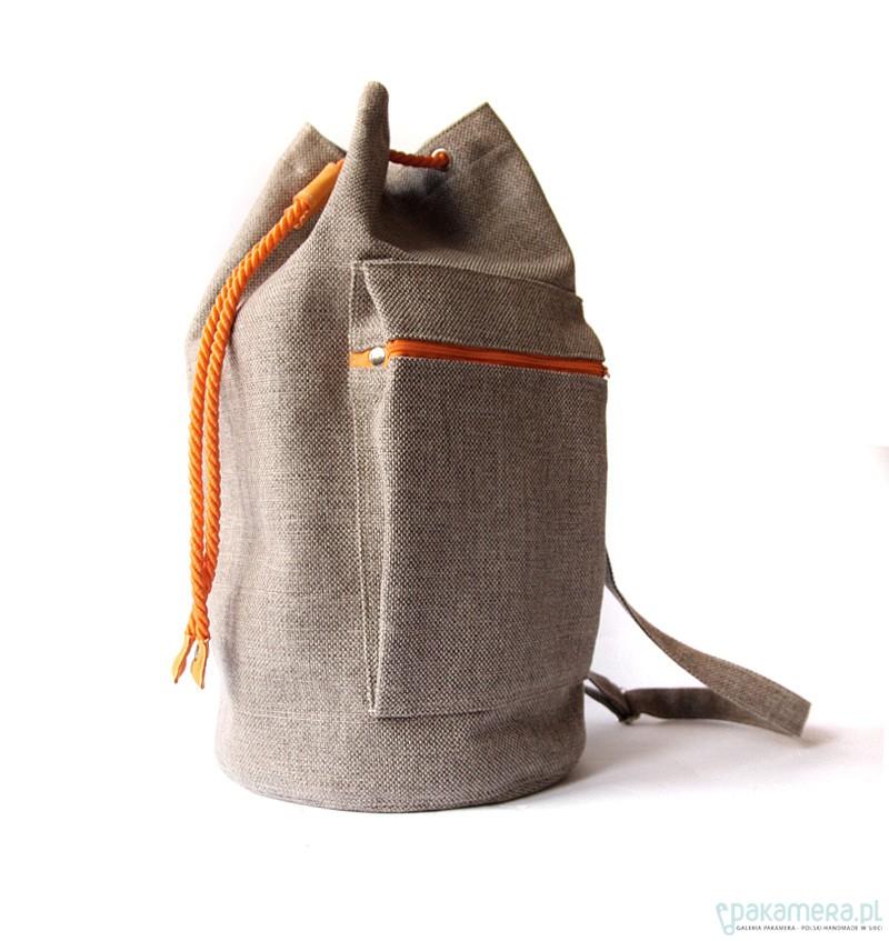 8d5251ffd7df0 worek plecak - beige orange - - torebki różne - damskie - Pakamera.pl