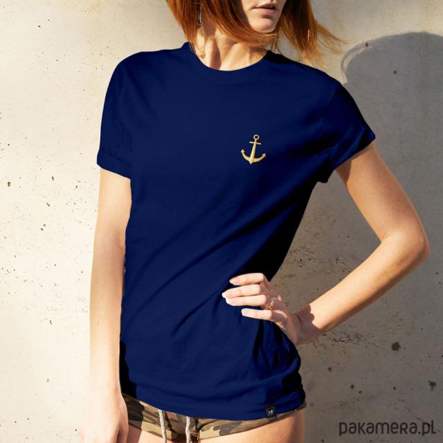 Koszulka damska z haftem - KOTWICA granatowa