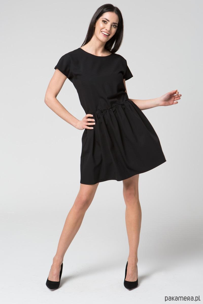 Sukienka midi rozkloszowana M022 Czarny