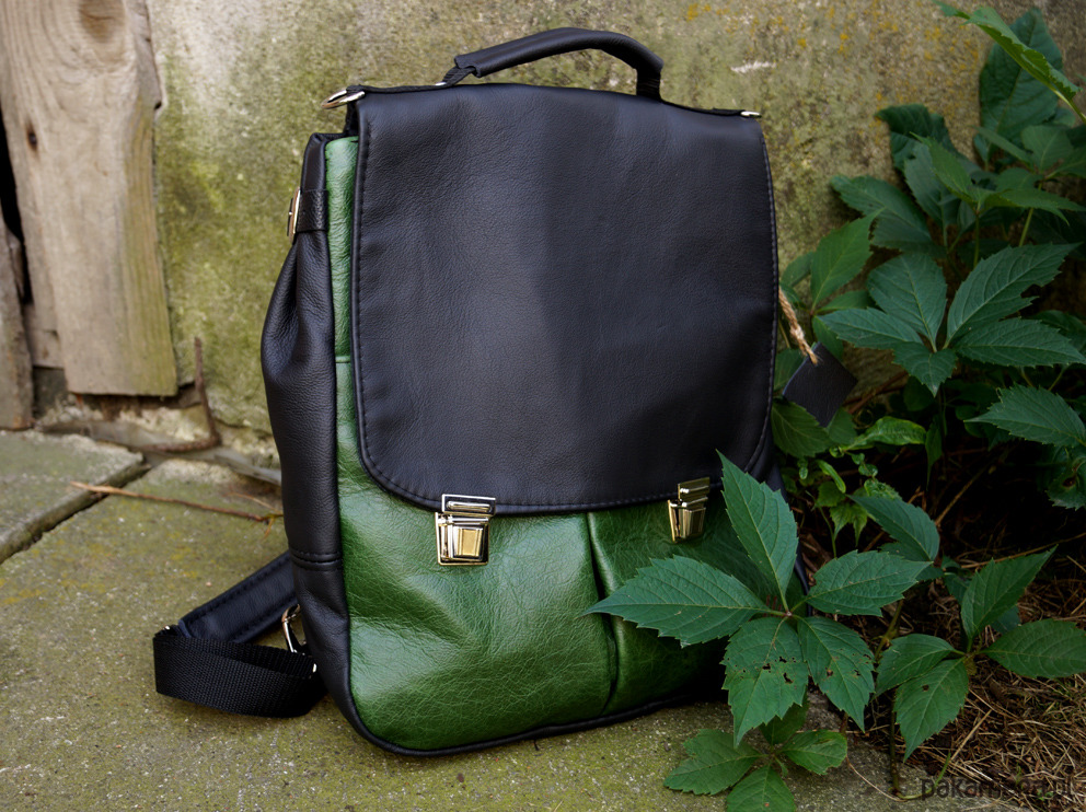 ec2d62f3c6741 LILITH CHIMERA plecak torba skóra czerń zieleń - plecaki - Pakamera.pl