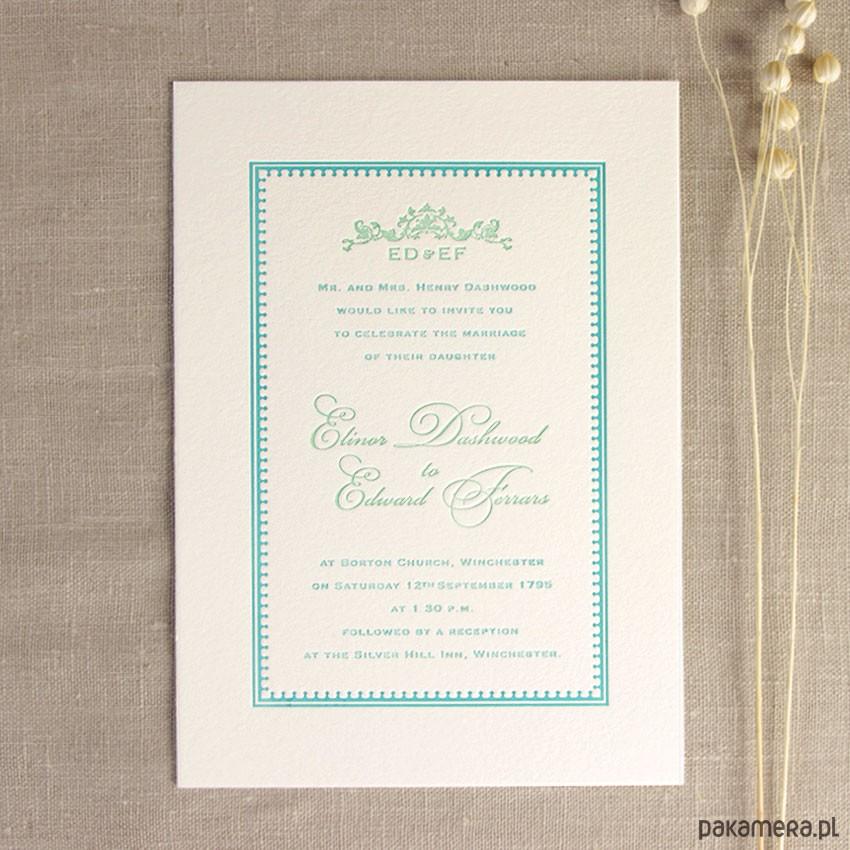 Zaproszenia ślubne Letterpress Mięta ślub Zaproszenia Kartki