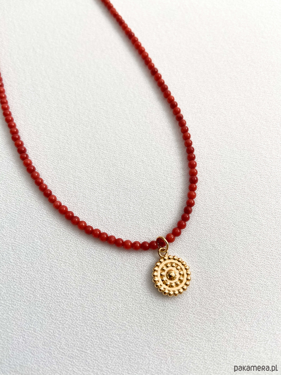 Naszyjnik pozłacaną zawieszka i koralem - naszyjniki - minimalistyczne mvzwBsdj