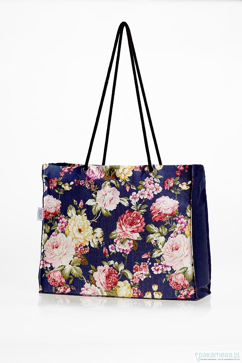 Duża, składana torba na zakupy w kwiaty