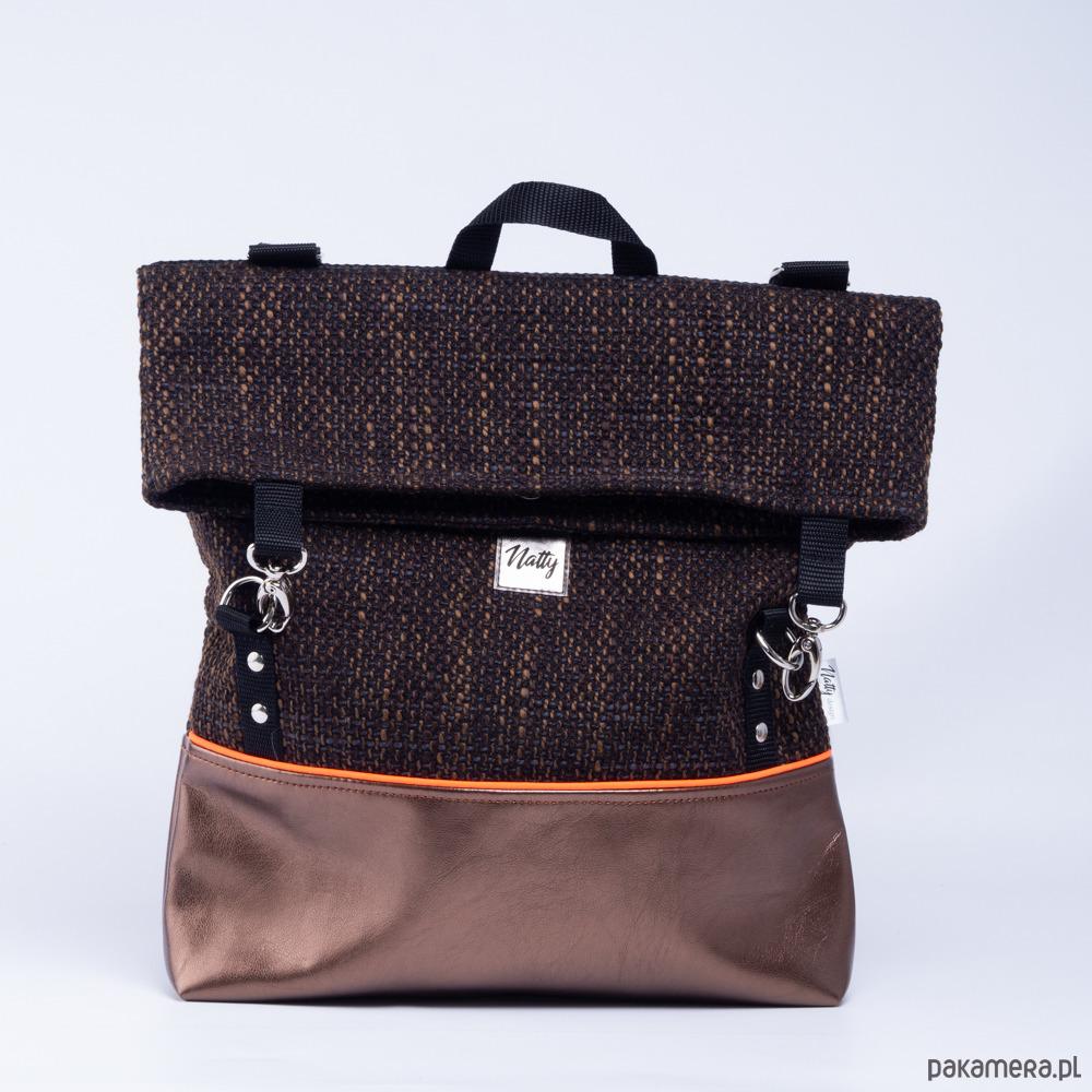9f224637369f9 Plecak Tornister Metalic brązowy z odblaskiem - plecaki - Pakamera.pl