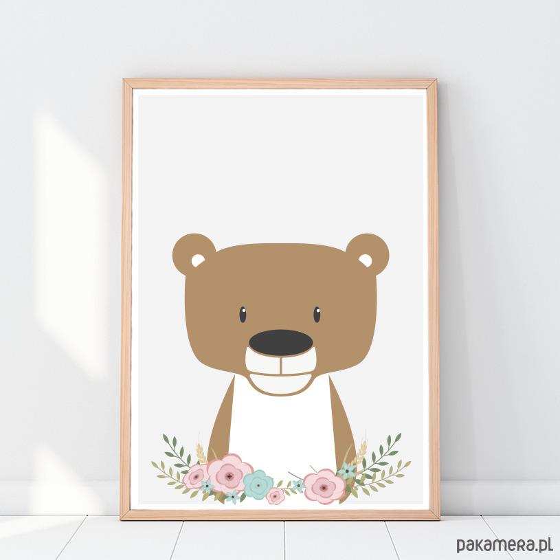 Miś Kwiaty Plakat Dla Dzieci Zwierzęta A3 Pakamerapl