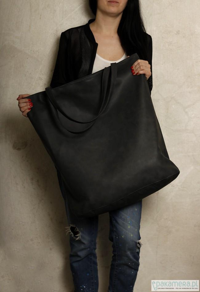 1f8c3ae284a67 Mega Shopper bag grafit na zamek   duża torba - torby XXL - damskie ...
