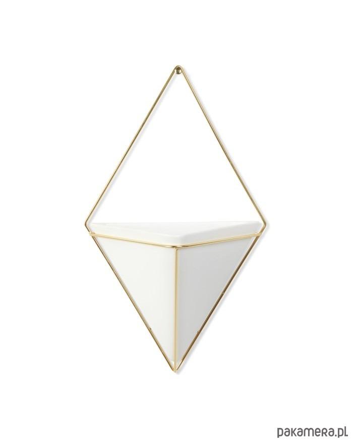 Pojemnik Doniczka Triangle Biało Złota Pakamerapl