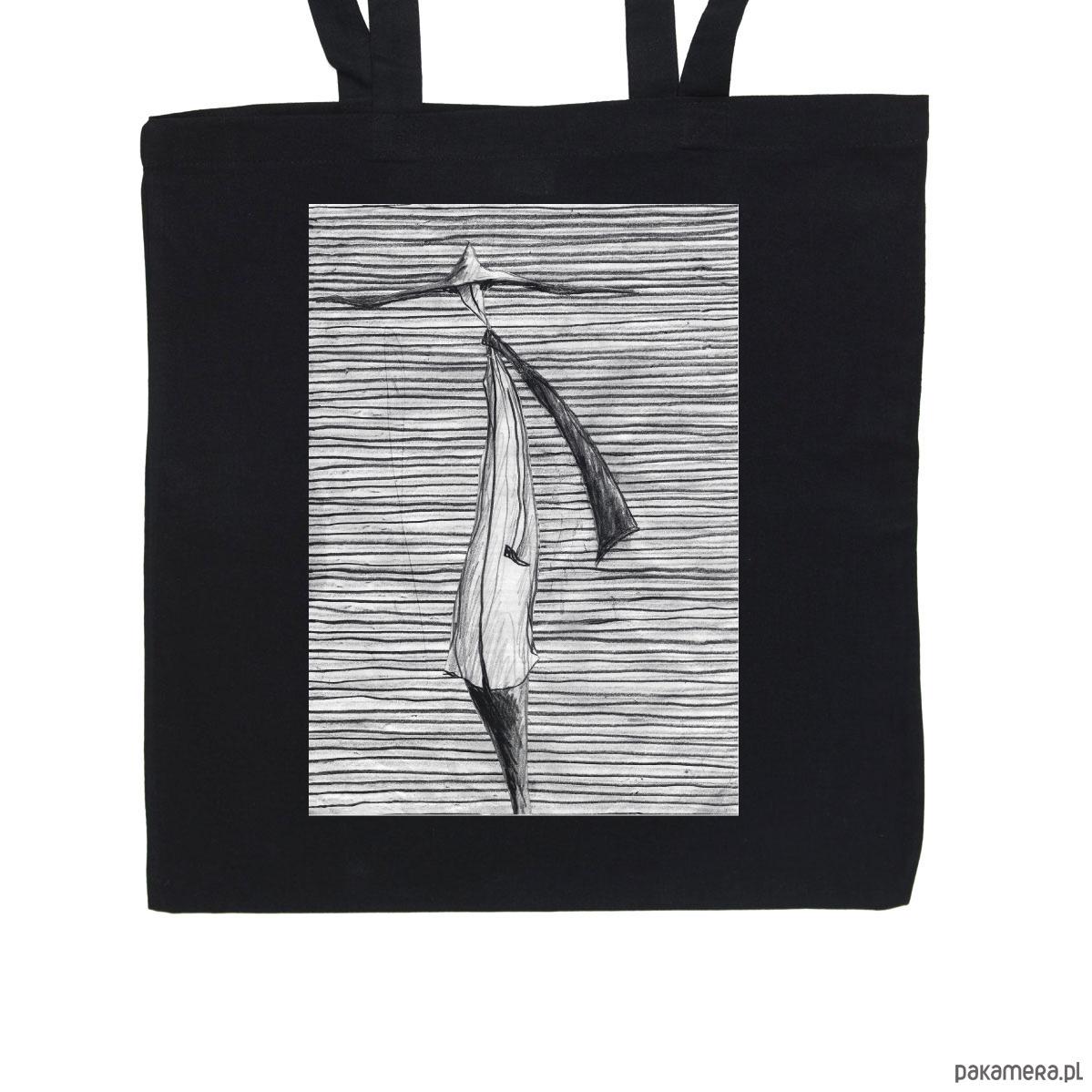 02da59983a652 Prążki - torba bawełniana czarna - torby na zakupy - unisex - Pakamera.pl