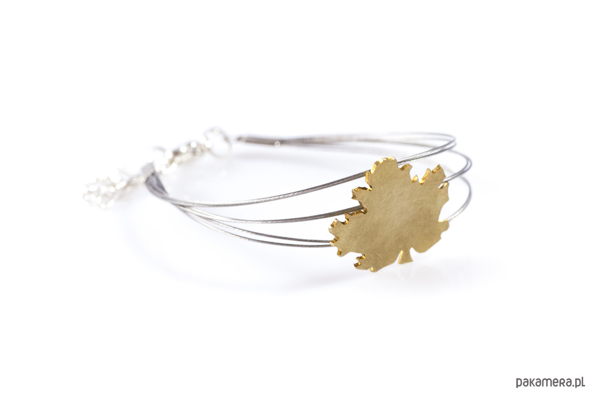 bransoletka ze złotym liściem klonu - bransoletki - inne 7xGdk45G