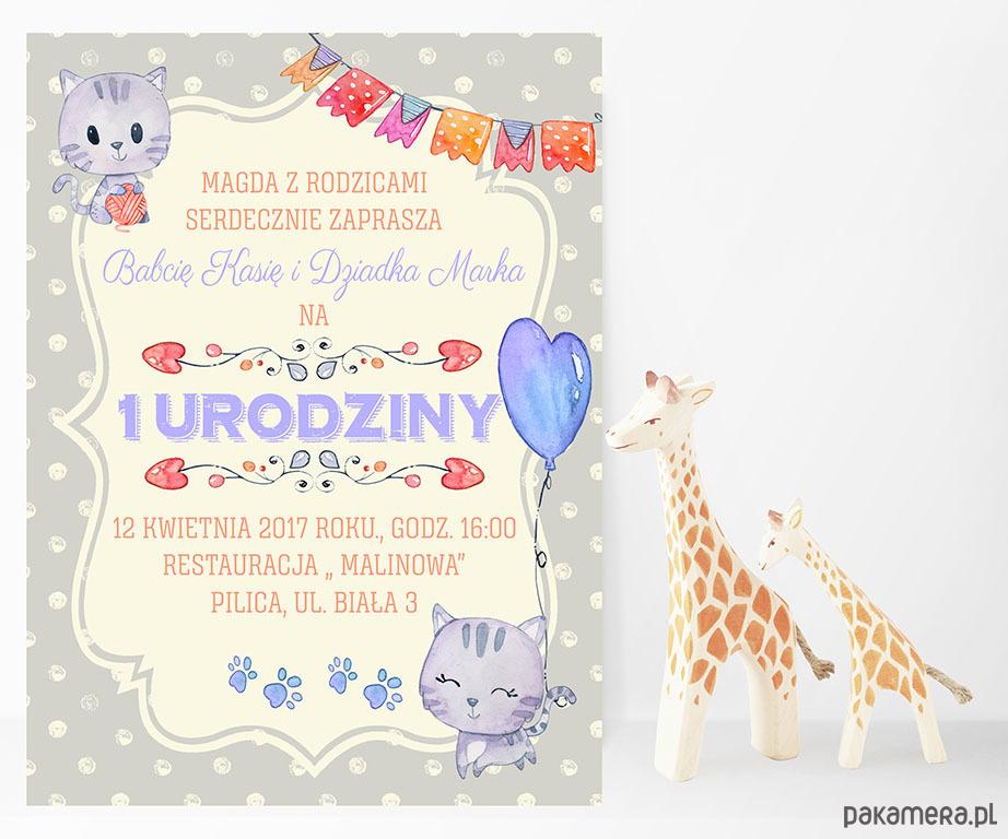 Zaproszenie Na Urodziny Szare Kotki Dziecko Kinderbal Pakamerapl