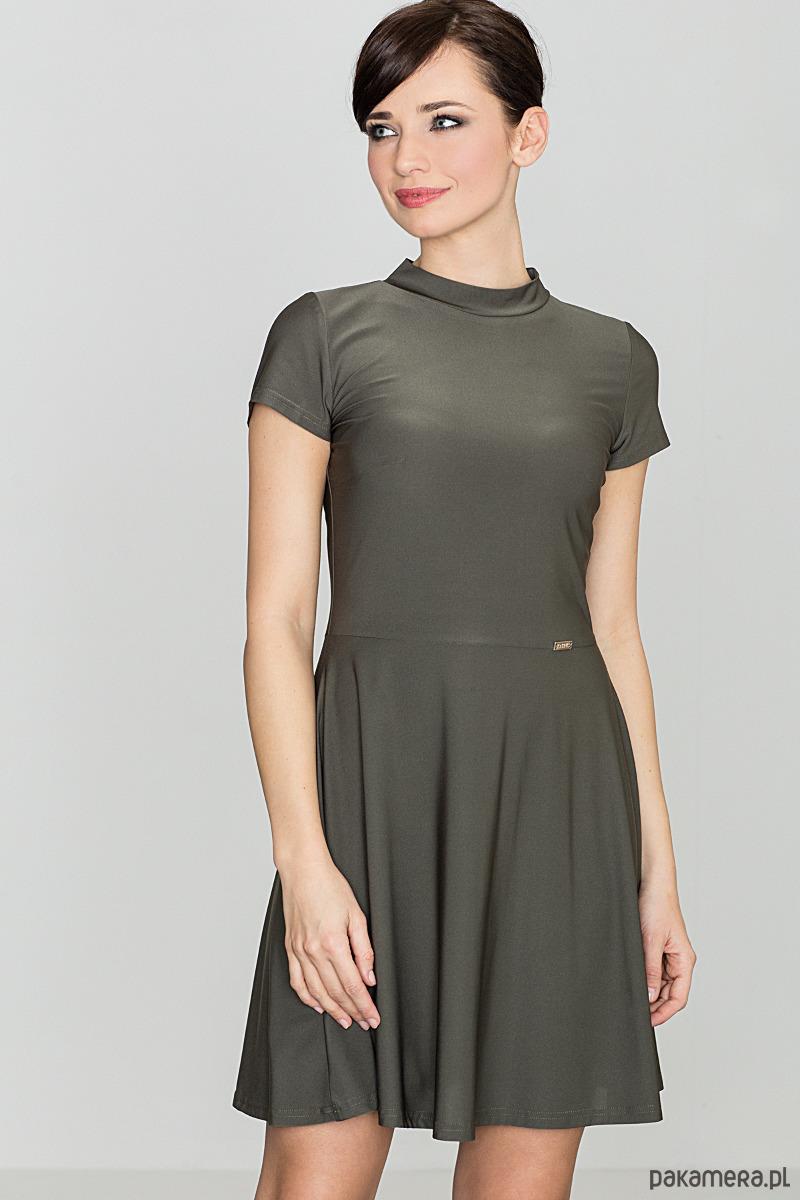 Sukienka klasyczna mini k433 oliwka