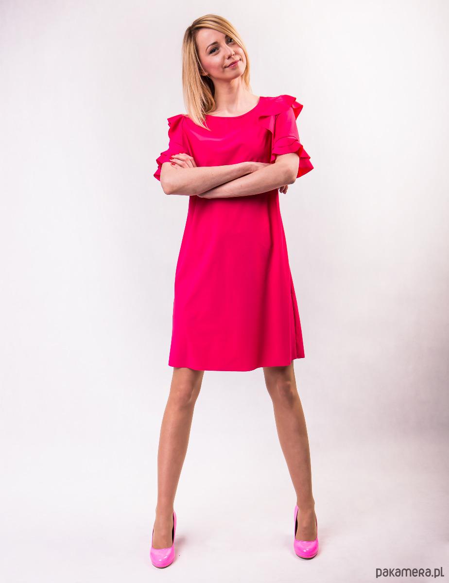 Sukienka damska PEONY LOOK różowa